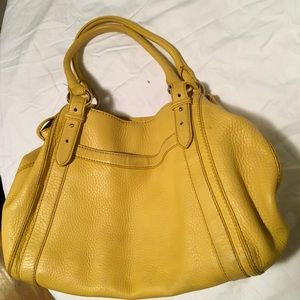Cole Han yellow leather handbag